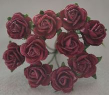 1 cm BURGUNDY Mulberry Paper Roses